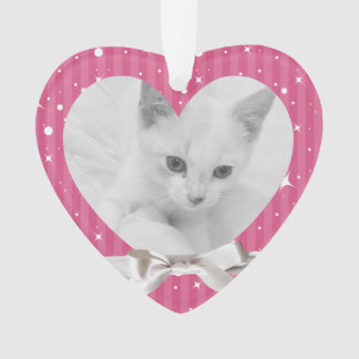 Female Pet's First Christmas Heart Photo Keepsake Ornament