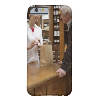 Female pharmacist advising customers barely there iPhone 6 case