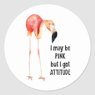 Female Pink Flamingo with Attitude Classic Round Sticker