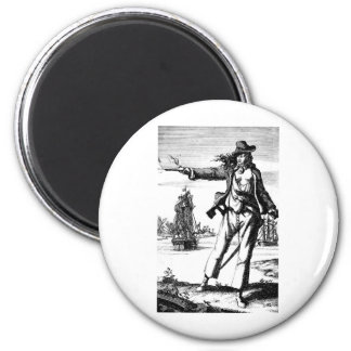 female pirate 6 cm round magnet
