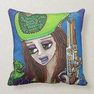 Female Pirate Chameleon Throw Pillow
