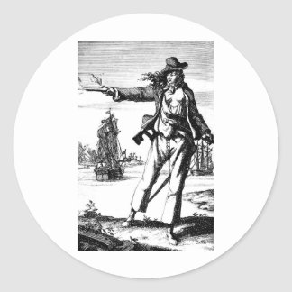 female pirate round sticker