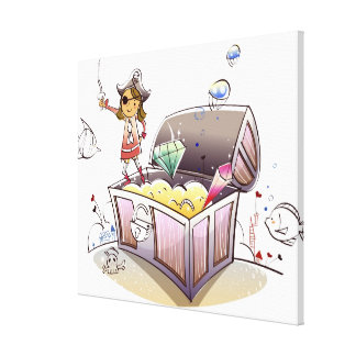 Female pirate standing on a treasure chest stretched canvas prints