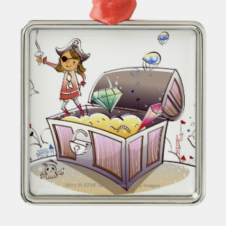 Female pirate standing on a treasure chest square metal christmas ornament