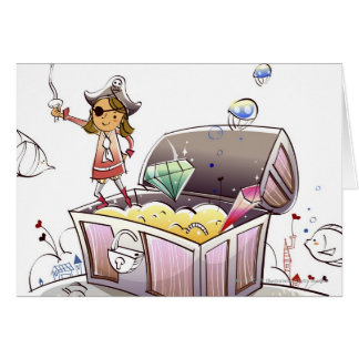 Female pirate standing on a treasure chest greeting card