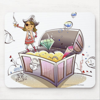 Female pirate standing on a treasure chest mouse mat