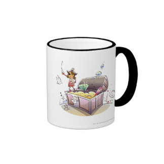 Female pirate standing on a treasure chest coffee mugs