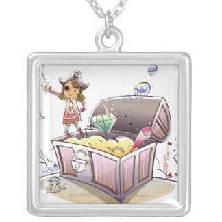 Female pirate standing on a treasure chest silver plated necklace