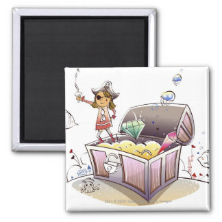 Female pirate standing on a treasure chest square magnet