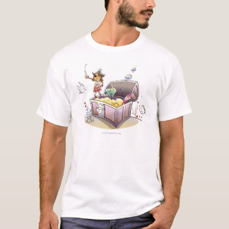 Female pirate standing on a treasure chest T-Shirt