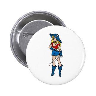 Female Pirate Tattoo Pinback Buttons