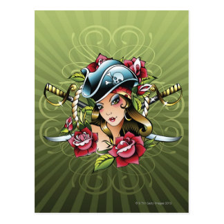 Female pirate with roses and swords postcard