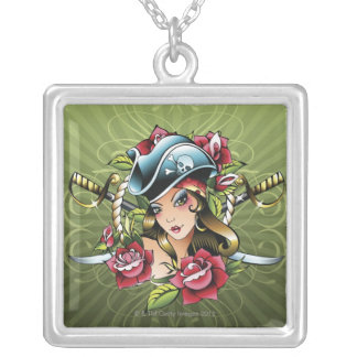 Female pirate with roses and swords silver plated necklace