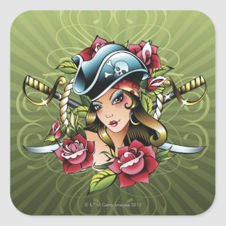 Female pirate with roses and swords square sticker