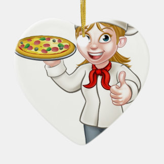 Female Pizza Chef Cartoon Character Ceramic Heart Decoration