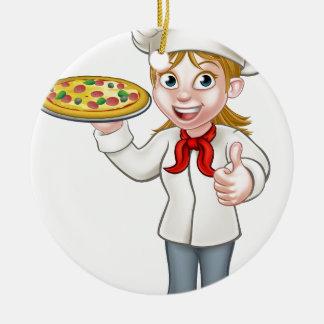 Female Pizza Chef Cartoon Character Round Ceramic Decoration
