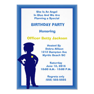 Female Police Officer Birthday Party Invitation