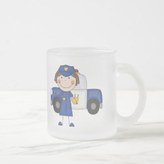 Female Police Officer Tshirts and Gifts Frosted Glass Mug