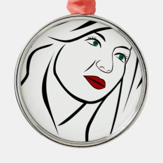 Female Portrait Silver-Colored Round Decoration