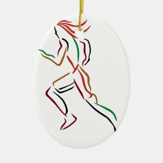 Female Runner Christmas Ornament