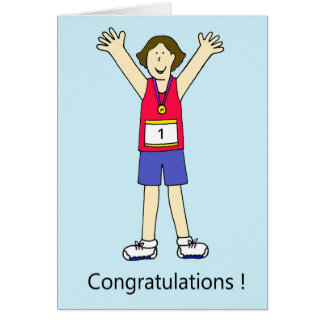 Female runner congratulations greeting card