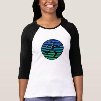 female runner in black circle shirt