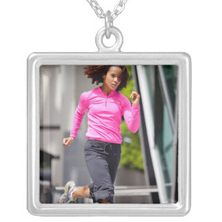 Female Runner in London Silver Plated Necklace