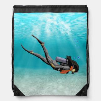 Female S.C.U.B.A. Diver Drawstring Backpack