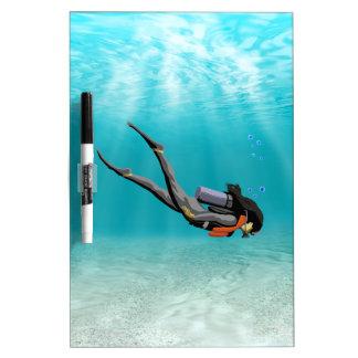Female S C U B A Diver Dry Erase Boards