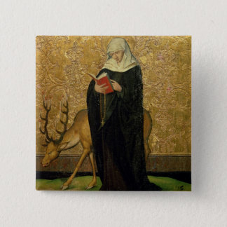 Female Saint with a Stag (oil on panel) 15 Cm Square Badge