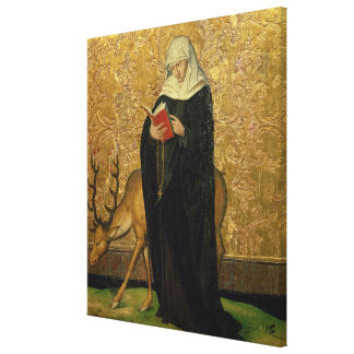 Female Saint with a Stag (oil on panel) Canvas Print