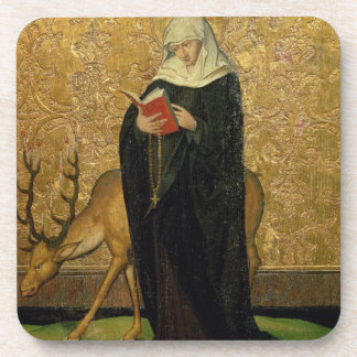 Female Saint with a Stag (oil on panel) Coaster