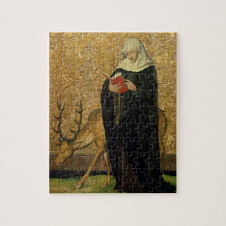 Female Saint with a Stag (oil on panel) Jigsaw Puzzle