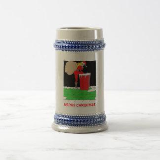 female santa roof bag beer stein