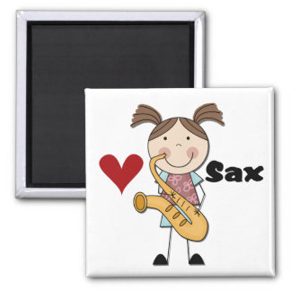 Female Saxophone Player Tshirts and Gifts Square Magnet
