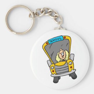 Female School Bus Driver Key Ring