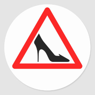 Female Shoe Sign Classic Round Sticker