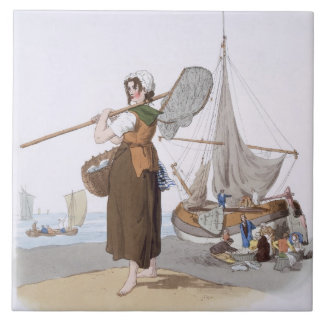 Female Shrimper, from 'Costume of Great Britain', Tile
