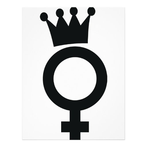 female sign with crown icon flyer design