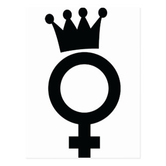 female sign with crown icon postcard