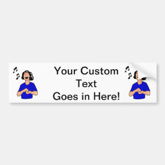 female singer top half blue shirt.png bumper sticker