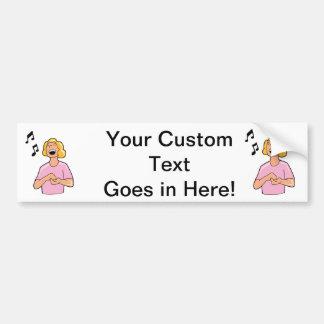 female singer top half pink shirt.png bumper sticker