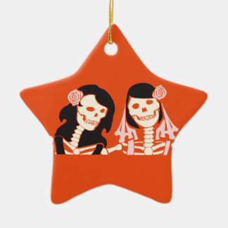 Female Skeleton Couple Christmas Ornament