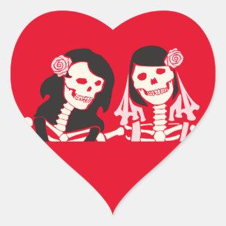 Female Skeleton Couple Heart Sticker