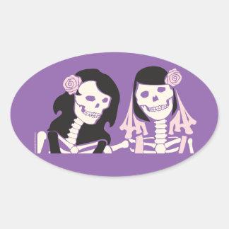 Female Skeleton Couple Oval Sticker