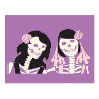 Female Skeleton Couple Postcard