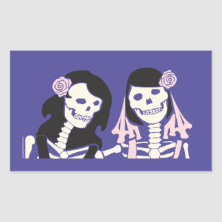 Female Skeleton Couple Rectangular Sticker