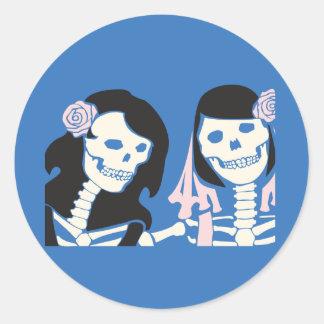 Female Skeleton Couple Round Sticker