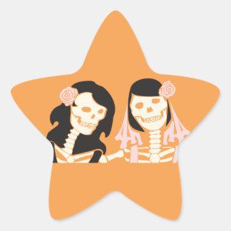 Female Skeleton Couple Star Sticker