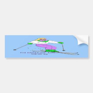 Female Skier Bumper Sticker